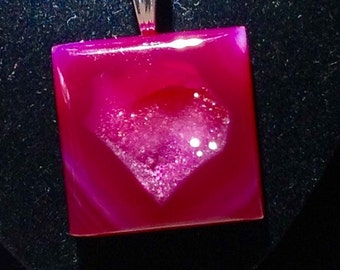 SALE Heart Shaped Necklace Druzy Agate Natural Formation