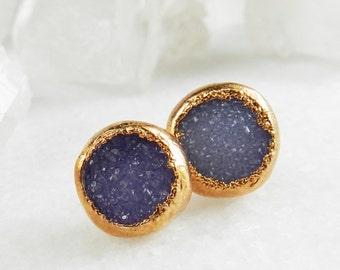 20% OFF SALE druzy stud earrings, druzy earrings,  rose gold earrings, rose gold studs, rose gold, rose gold druzy, gifts for her