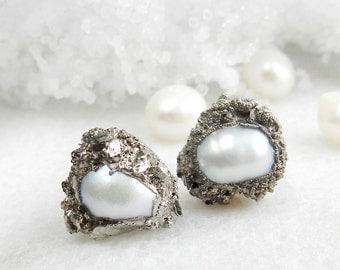SALE pearl stud earrings, silver earrings, druzy earrings, silver druzy, pearl studs, pearl earrings