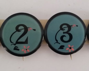 Four Vintage Enamel Buttons / Pins -- Numbers 1 through 4, Pinback