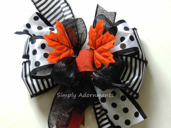 Funky Black White Halloween Wreath Bow Funky Halloween Monogram Bow Halloween Lantern Bow Black White Halloween Door Hanger Bow Gift Bow