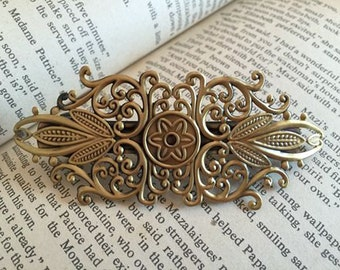 5 pcs raw Brass plating antique bronze hair pin finding