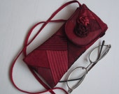 Eye glases soft  case dark red fabric eyeglasses bag glasses pouch long strap