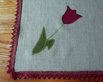 Small linen square tablecloth Mother''s day gift ideas gray organic washed linen burgundy lace linen topper with tulips