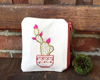 Cactus Wallet // Handmade // Hand-embroidered // Change Purse // Momogram // Custom // Business Card Holder // ID and Credit Card Pouch