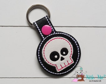 Key Fob GIRLIE SKULL, black/white/pink, approx. 5,5 cm x 9,5 cm, artificial leather