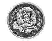 2 Lion and the Lamb 1 inch ( 25 mm ) Pewter Buttons