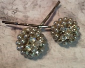Bridal Hair Pins Vintage Regency Grey Pearls Paste Hairpins Bobby PIns