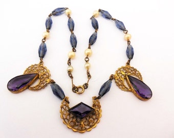 Czech Glass Necklace 1930's Art Deco Amethyst Blue Choker Bridal Trending