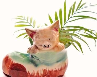 ON SALE Vintage Cat In A Boot Ceramic Planter Or Vase Made In Japan Turquoise Blue, Chestnut Brown, Ivory, Beige