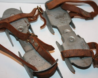 Vintage 1940's Children's Adjustable Double blade training Ice Skates, Vintage Christmas, Winter, Holiday Decor, Display, Antique, kids