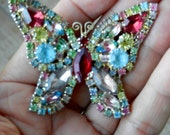Vintage WEISS Signed Multi-Color Butterfly Brooch Pin