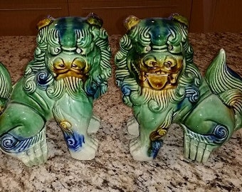 Asian Mantel Dogs, in the style of Staffordshire, Foo Dogs
