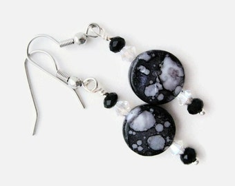 Shell Earring black and silver handmade  dangle and drop gift for her Mother's Day Birthday swarovski crystal earrings hypoallergenic wires