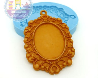 Cameo Setting Frame Charm Cabochon Setting Area 25x18mm  Bakery Craft Flexible Silicone Mould 337L* BEST QUALITY