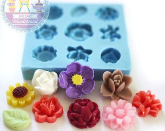 Mini Flower Set of 9 x 10mm Bakery Flexible Mold 200L BEST QUALITY