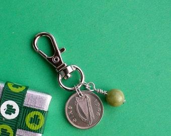 1966 Threepence Coin and Connemara Marble Purse Charm 51st Birthday Gift, Irish Rabbit 3d Coins 1928 - 1968 Thrupenny Bit