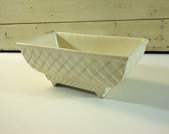 Matte White Rectangular Pottery Planter with Diamond Crosshatch Pattern 404