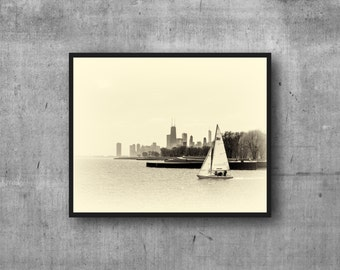 Chicago Photography Art Print - skyline view from the harbor