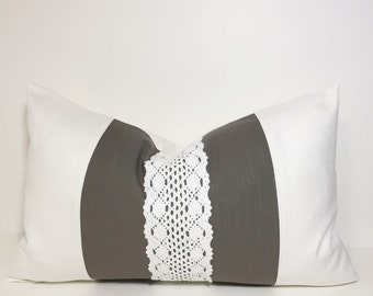 Colorblock pillow cover in cotton & lace.  Cream with Olive brown textured slub and lace lumbar decorative throw pillow home decor accent