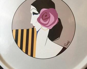 Tray Platter Art Deco Flapper 1985 Stoneware