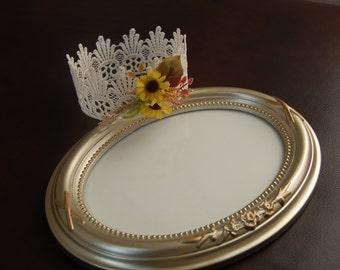 Newborn Vintage Mini Sunflower Crown Newborn Crown, Newborn Props, vintage crowns, Crowns, sunflower