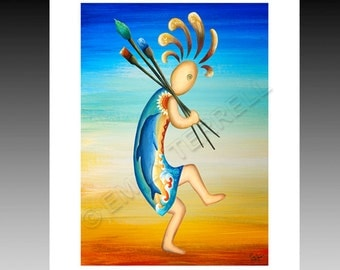 Native American Artist Kokopelli framable art print paintbrushes paint dolphin dancing southwest artist home living decor gift paper