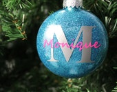 Teal and Silver Glitter Personalized Monogram Glass Ornament