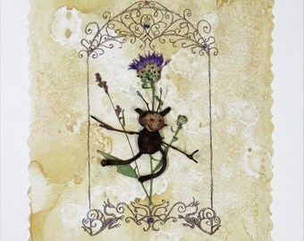 Fresh Caught/Dried Pressed Fairy, Whimsy Pixie mounted on hand painted watercolor and colored pencil with Swarovski crystals