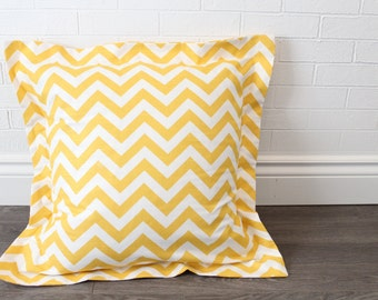 "26x26"" Yellow and White Chevron Euro Pillow Sham with 2"" Flange"
