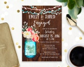 Rustic Engagement party Invitation Printable Mason Jar & Watercolor Flowers Wood Engaged invitation template Digital Engagement party invite