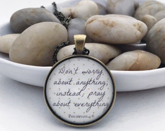 Don't worry round bronze necklace Bible verse Scripture Philippians 4:6 glass pendant mustard gray jewelry gift for her inspiration silver