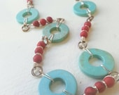 Turquoise and Coral Wire Wrapped Necklace