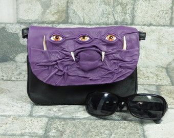 Cross Body Handbag Purse With Face Messenger Bag Harry Potter Labyrinth Three Eye Monster Purple Black Leather Goth