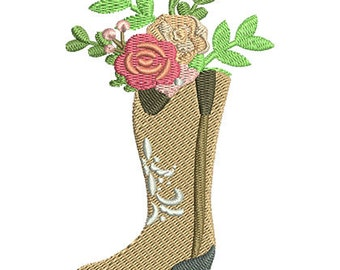 Floral Cowboy Boot Embroidery Design- Instant Download