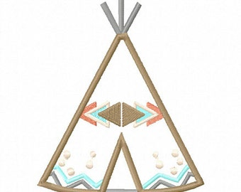 Tribal Teepee Applique Embroidery Design - Instant Download
