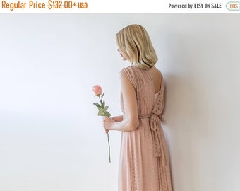 Pink maxi sheer lace gown with short sleeves, Lace bridesmaids pink dress
