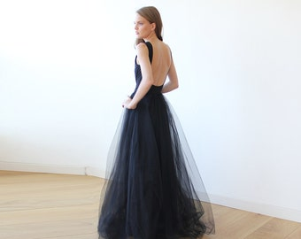 Black open back maxi tulle dress, Low back tulle gown 1086