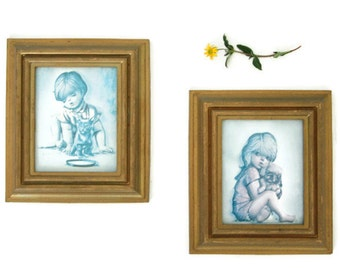 Vintage Framed Children Wall Art