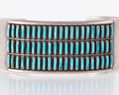 Turquoise Cuff - Vintage Zuni Petit Point / Needle Point Turquoise Sterling Silver Cuff