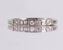 Antique Art Deco 14K White Gold Diamond Wedding Band