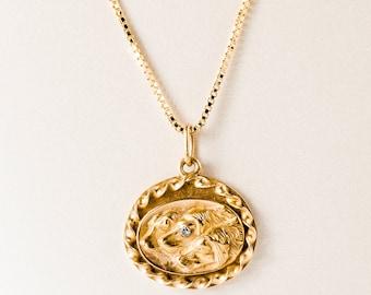 Antique Necklace - Antique 1930's 14k Yellow Gold Triple Dog Necklace