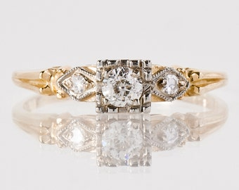 Antique Engagement Ring - Antique 1930's 14k Yellow and White Gold Diamond Engagement Ring
