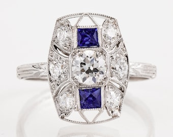 Antique Engagement Ring - Antique Art Deco Platinum Diamond and Sapphire Conversion Engagement Ring