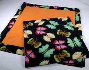 Doll Quilt or Beardie Blanket Set, NEON BUTTERFLIES print, for Bearded Dragon, Cat, Dog, Snake, Iguana, Ferret, etc