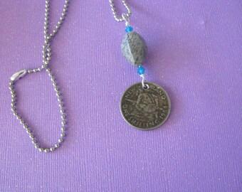 New Zealand Jewelry, New Zealand Necklace, Maori, Coin Jewelry, Travel, Travel Jewelry, Necklace, 1964
