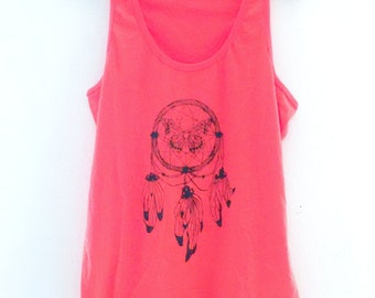 Coral Racer Vest with Dream Catcher screen print