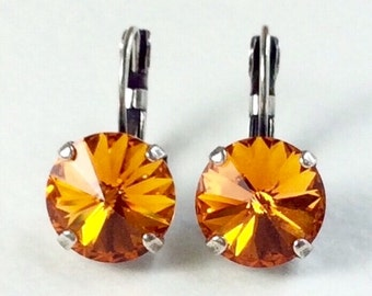Swarovski Crystal 12MM Drop Earrings Classy & Feminine - Tangerine - Or Choose Your Favorite Color and Finish -  FREE SHIPPING
