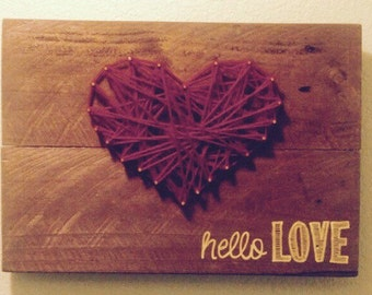 String Art Heart Rustic Wood Sign Hello Love