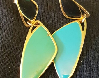 Vintage 80s Dangly Turquoise Black Gold Style Rad Dangly Pierced Earrings